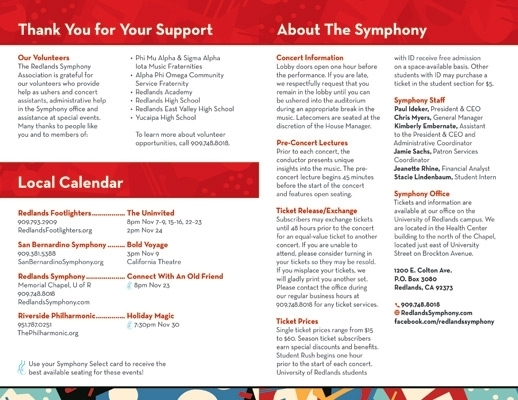 Rsa Season 13-14 Concert Program, Created For The Redlands Symphony